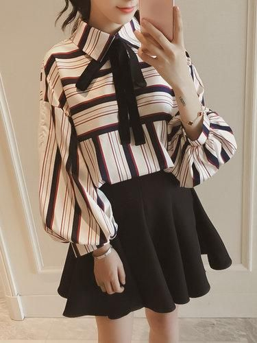 25d7225481c5 #PopJulia - #PopJulia Multicolored Casual Bow Stripes Shirt Collar Blouse -  AdoreWe.com