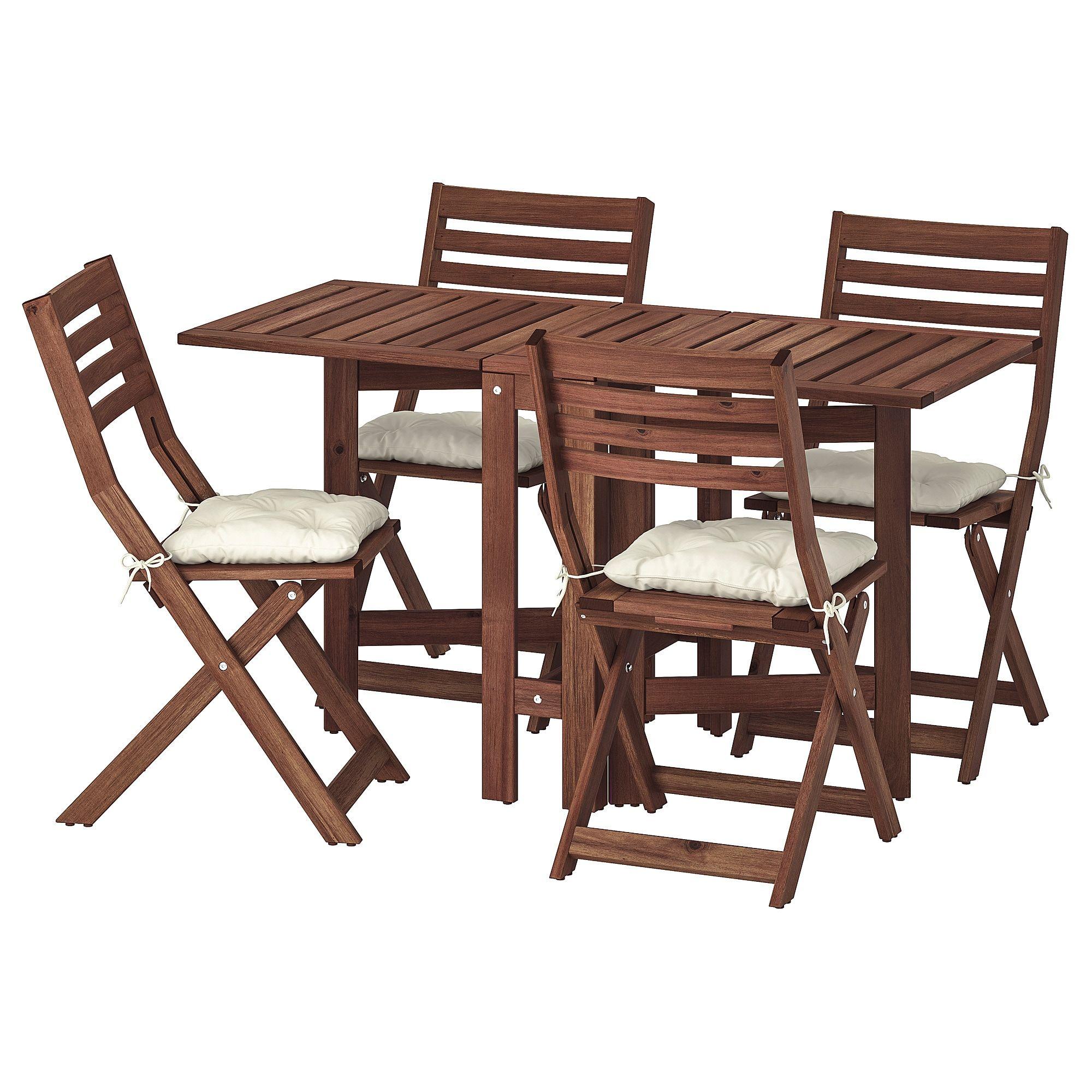 Applaro Tisch 4 Klappstuhle Aussen Braun Las Kuddarna Beige