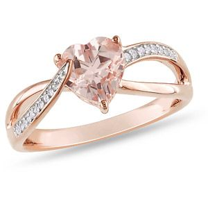 1-1/10 Carat T.G.W. Morganite and Diamond-Accent 10kt Pink Gold Heart Ring