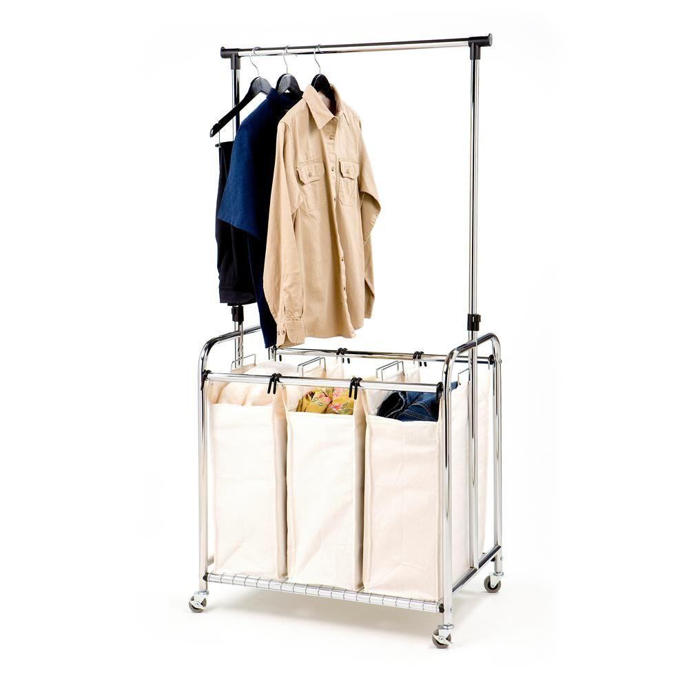 Seville Classics 3 Bag Heavy Duty Laundry Hamper Sorter Cart With Clothes Rack Grey In 2020 Laundry Hamper Wardrobe Rack Classic