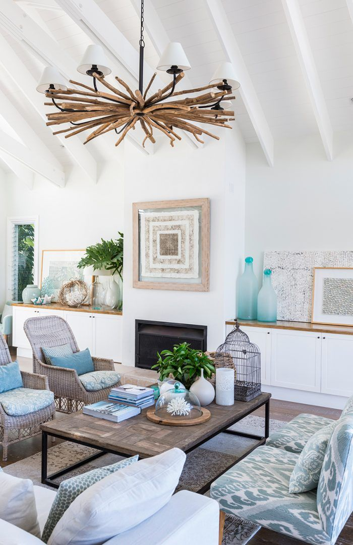 Transitional Living Room With Coastal Vibe And Blue: Tropical Blue With White And Natural Wood Accents Adds A