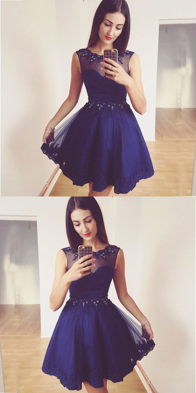 Navy blue beaded aline short homecoming dress with lace