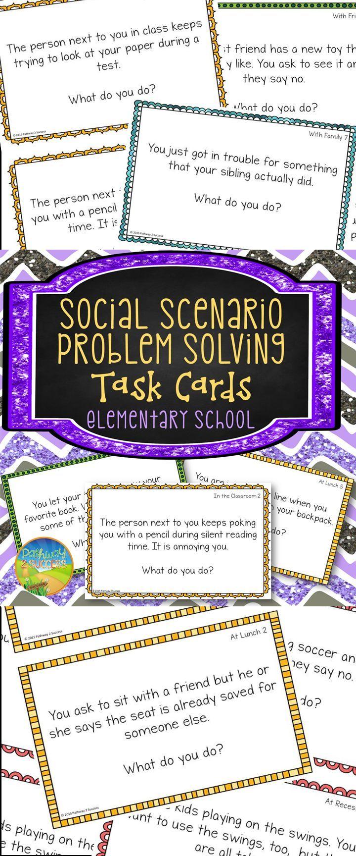 Worksheets Social Problem Solving Worksheets social problem solving task cards elementary schools school and cards