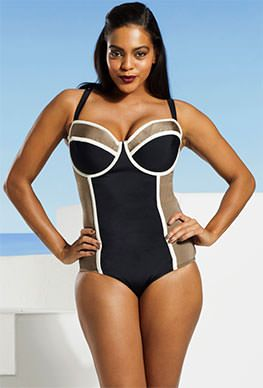7949833556d5f Tropiculture Plus Size Black and White Striped Colorblock Underwire Swimsuit   want  bali