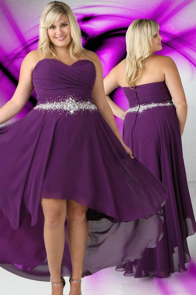 Cheap purple plus size wedding dresses high low for Purple plus size dresses for weddings