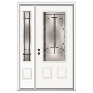 Jeld Wen Idlewild 3 4 Lite Primed Steel Entry Door With 12 In Sidelites H29577 At The Home Depot Mobile Steel Entry Doors Front Door Best Front Doors