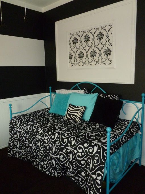 Love the black white striped wall with the splash of for Black and white and turquoise bedroom ideas