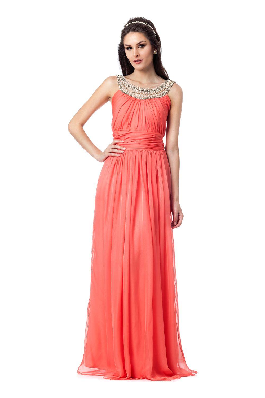 7156e3796 Coral Pearl | ideia vestidos de festa | Vestido longo, Vestido ...