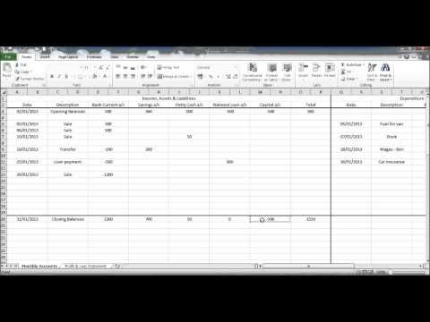 Creating a Bookkeeping Spreadsheet using Excel - YouTube