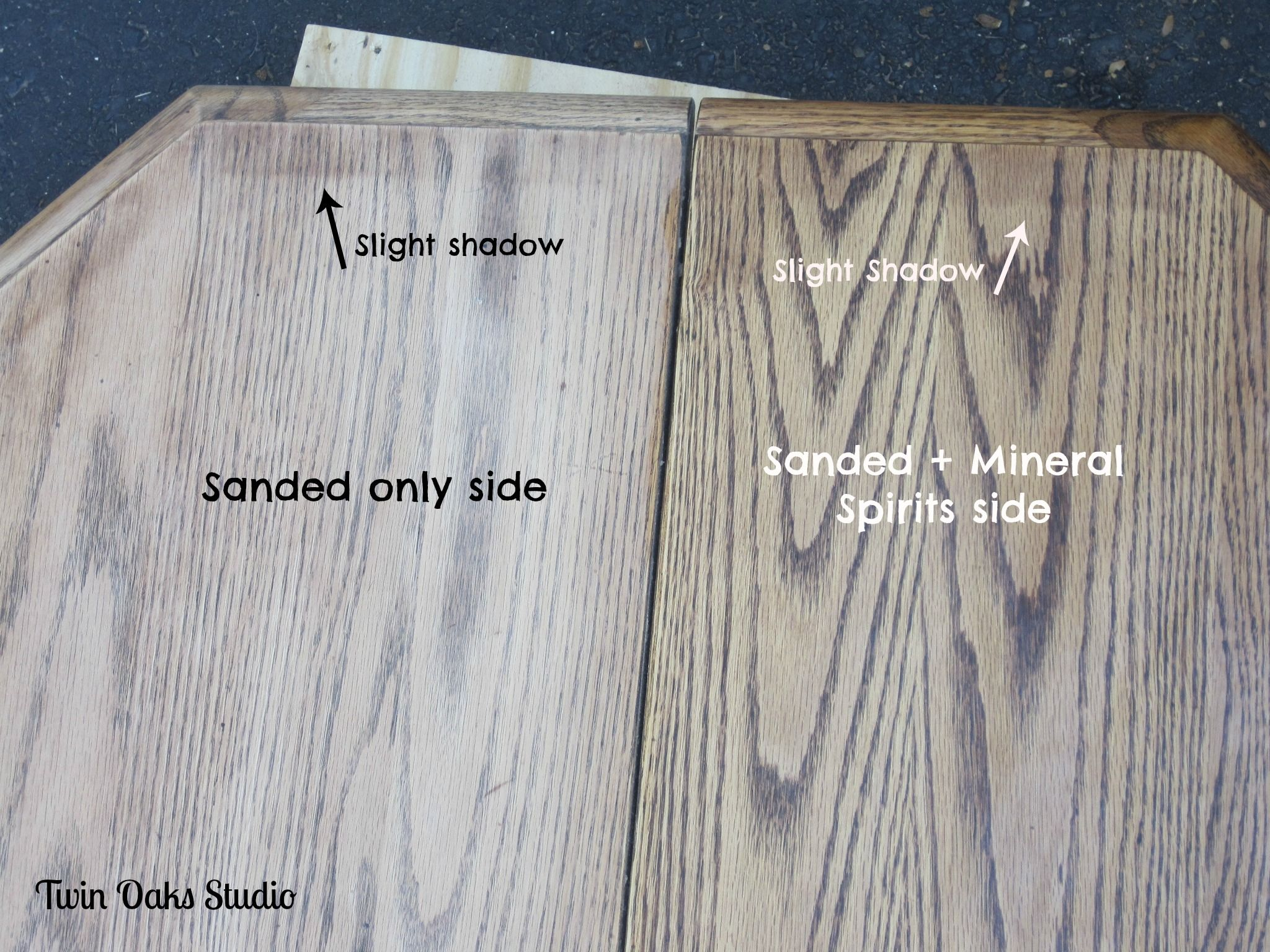 Wipe mineral spirits on freshly sanded wood to mimick stain. It ...