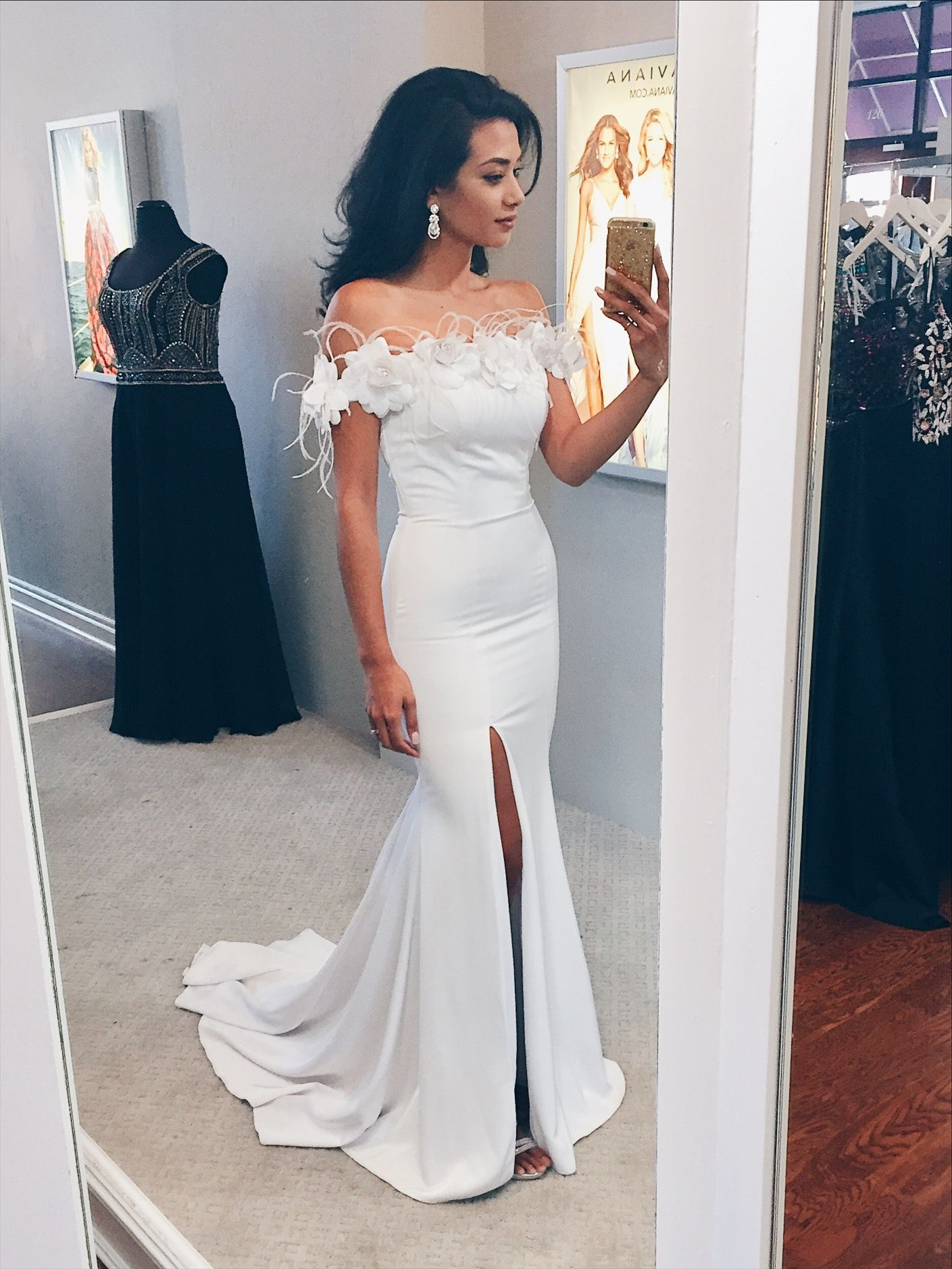 Wedding renewal gown white off shoulder mermaid dress with train