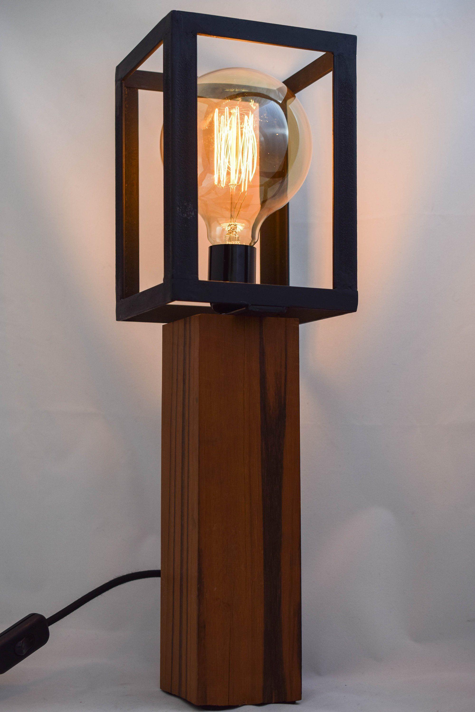 Lampe En Bois De Goncalo Alves Et Acier Lamp Wooden Lamp Wooden Lamps Design