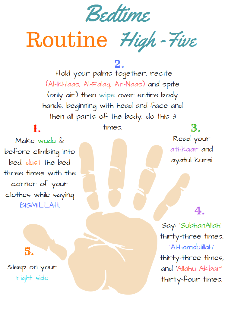 Islamic Bedtime Routine High Five Free Printables Islamic