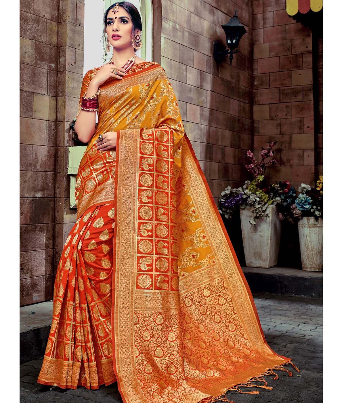 b6dfbebff4638 Aspiring Orange   Yellow Color Designer Banarasi Silk Saree ...