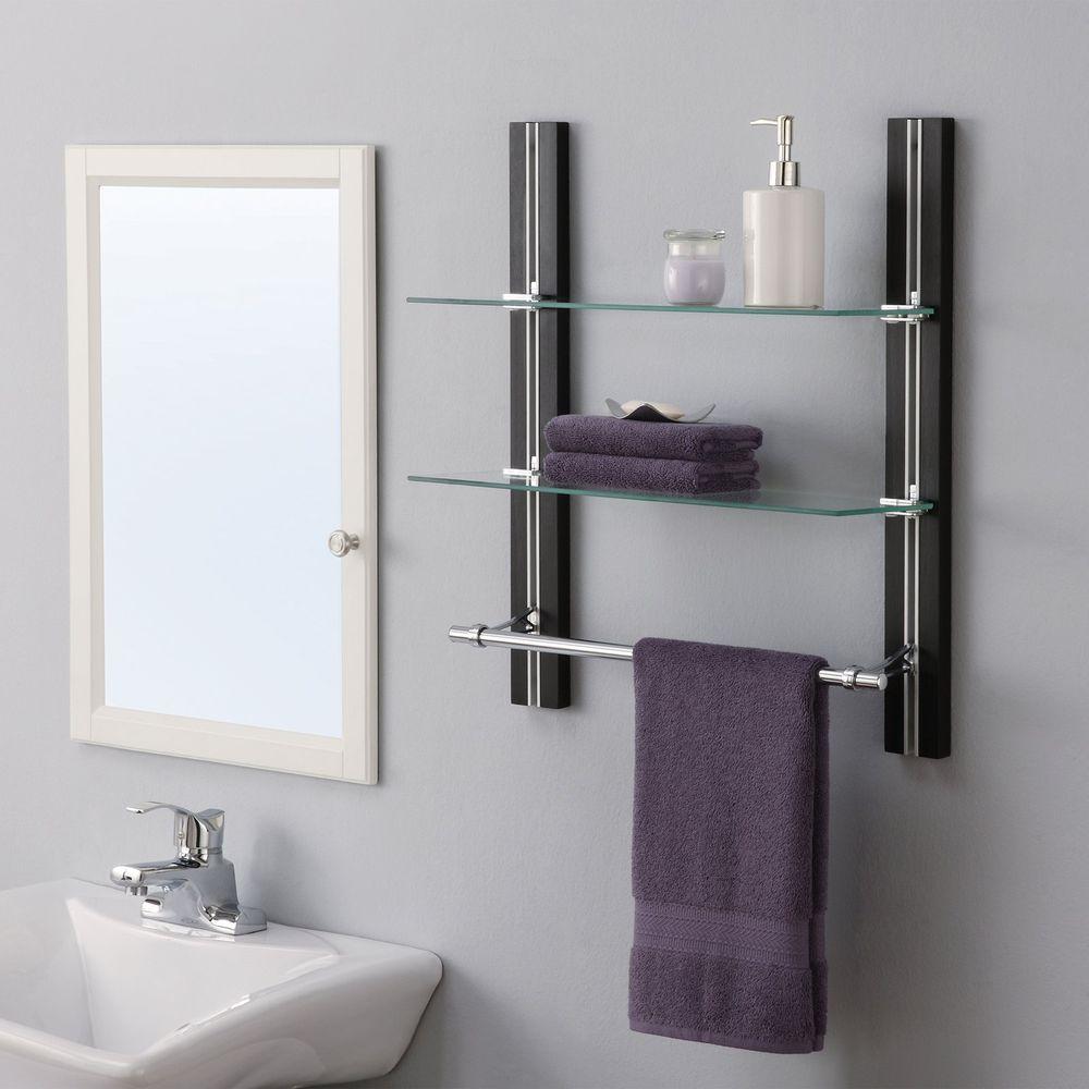 Bathroom Shelf Wall Mounted Organizer Glass Towel Rack Bar Holder 2 ...