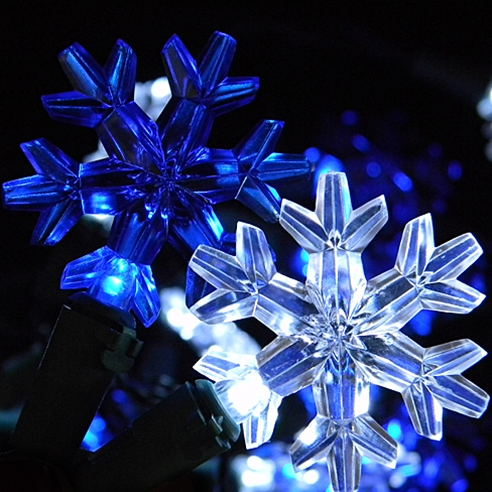 White Amp Blue Led Snowflake String Lights Battery Operated