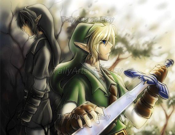 legend of zelda dark link | Legend of Zelda fanart print - Link and Dark Link