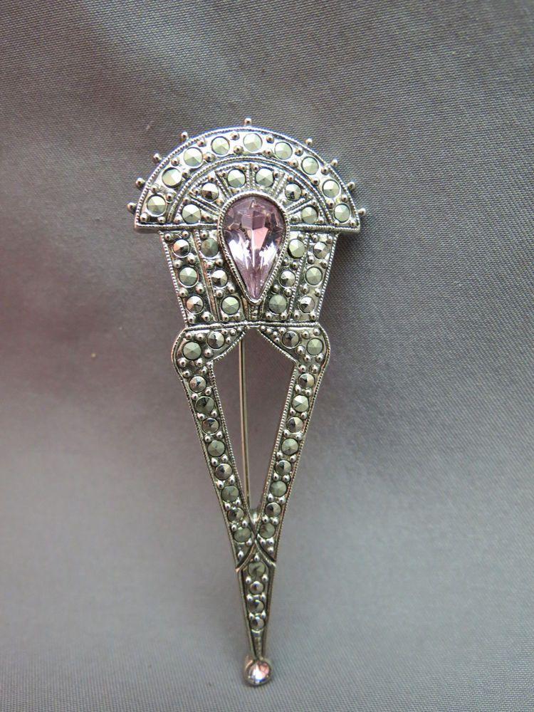 1928 Designer Brooch Pink Tear Drop Rhinestone Marcasites Victorian Inspired New #1928