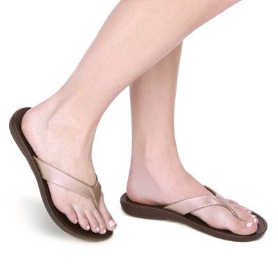 09884bc2e326b Women s Okabashi Marina Flip Flop Sandals - Brown Light Gold L(9.5-10.5