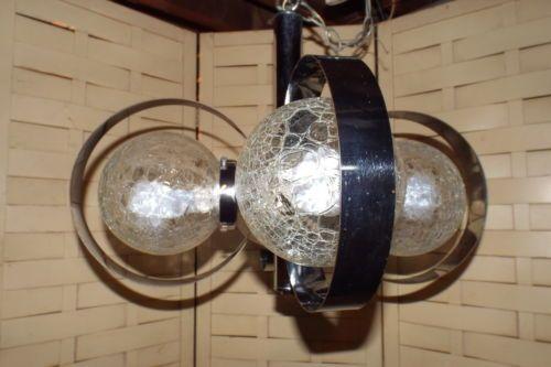 Vintage 1970's Chrome Space Age Atomic Hanging Light Ceiling Lamp Chandelier | eBay
