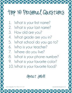 Expressive Language: Top Ten Easy Personal Questions   Per Leti ...