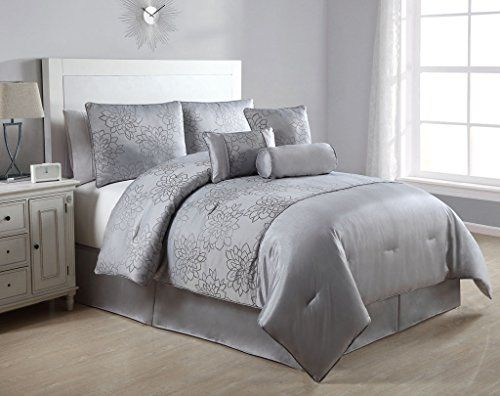 Gray Embroidered Comforter : Piece queen claire gray embroidered comforter set