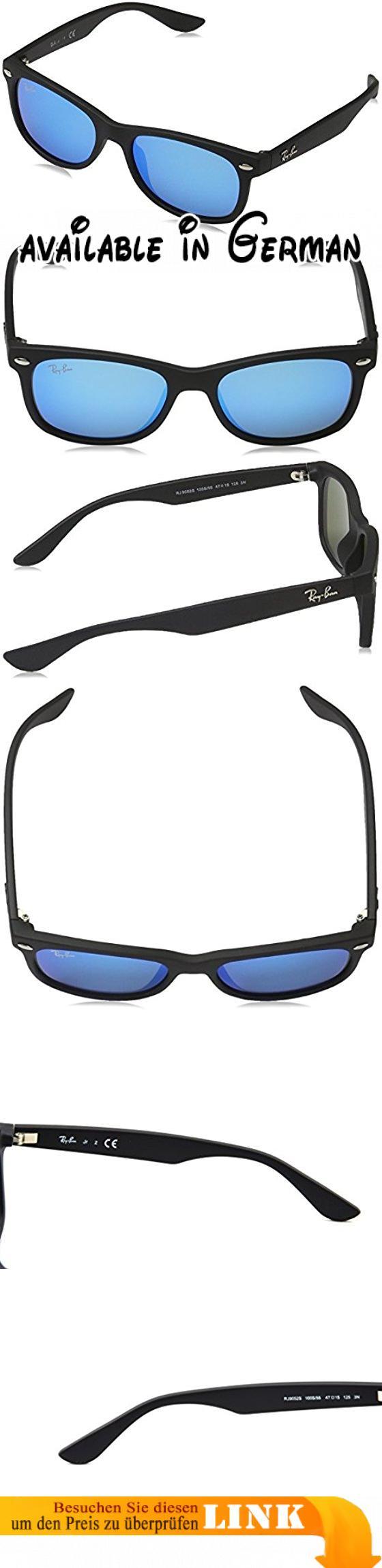 Ray-Ban Unisex Sonnenbrille New Wayfarer Junior, Gr. Medium (Herstellergröße: 47), Schwarz (Gestell: Schwarz, Gläser: Blau verspiegelt 100S55)