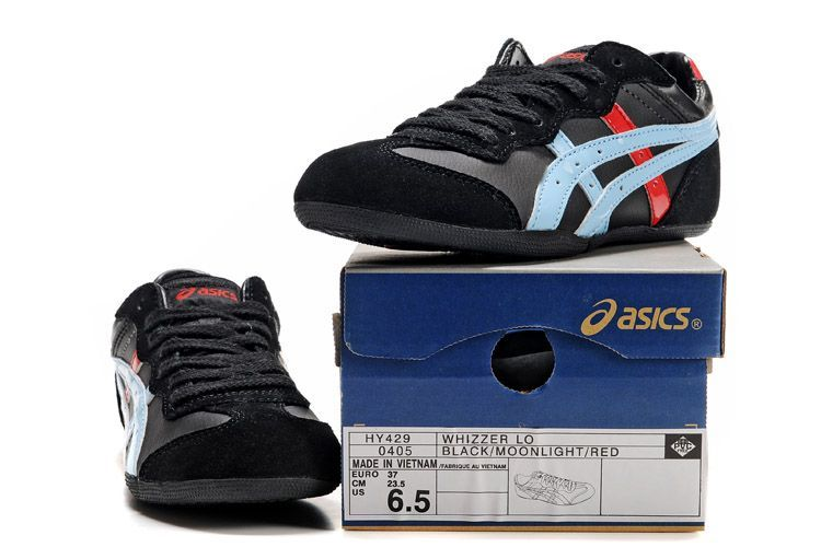 Womens  Mens ASICS Whizzer Lo Black Moonlight Tomato Shoes onitsukatiger