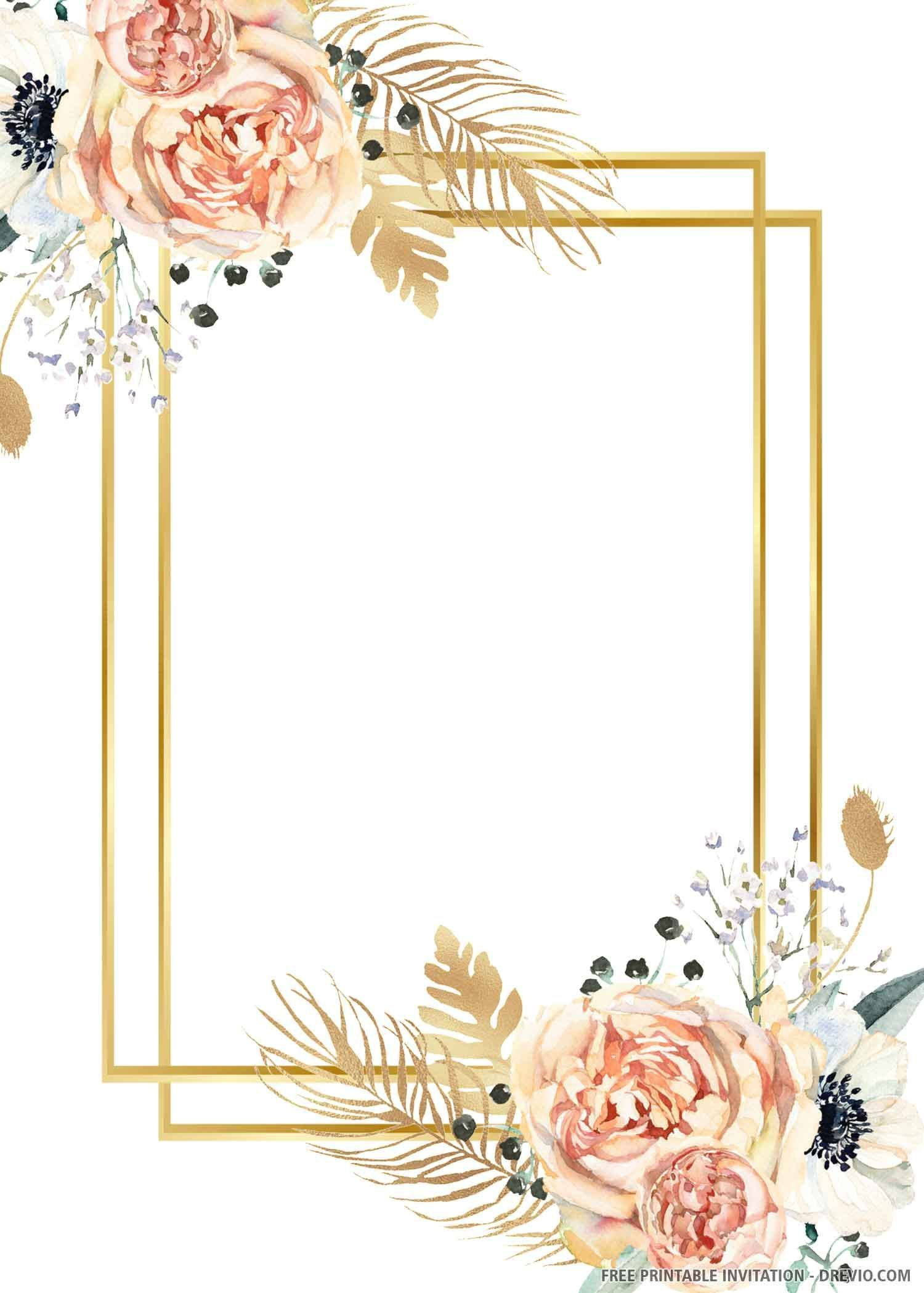 FREE PRINTABLE) Gold Wedding Invitation Template  Free wedding