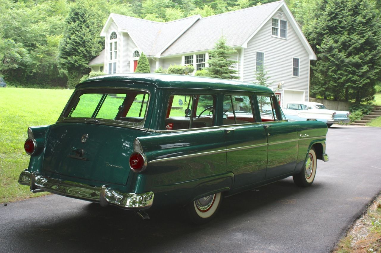 1955 ford country sedan 9 passenger station wagon our family car when i was a kid i always got stuck in the back back seat facing out the back wi