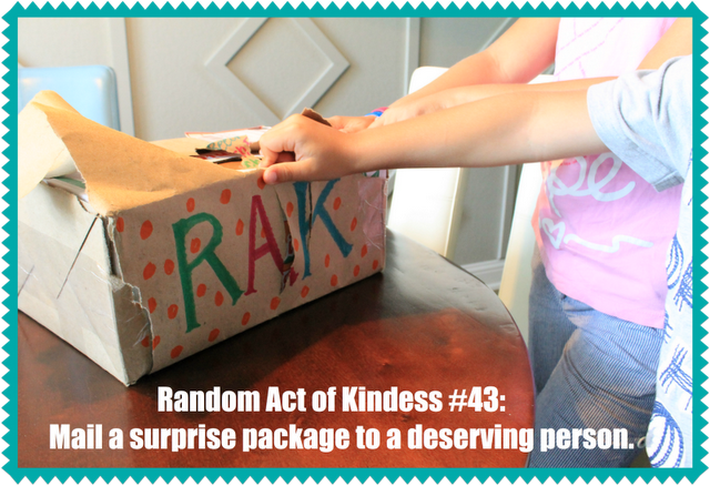 Random Act of Kindness: Use snail mail to send a surprise package to a deserving person.    More fun RAK ideas at Make Them Wonder Blog.