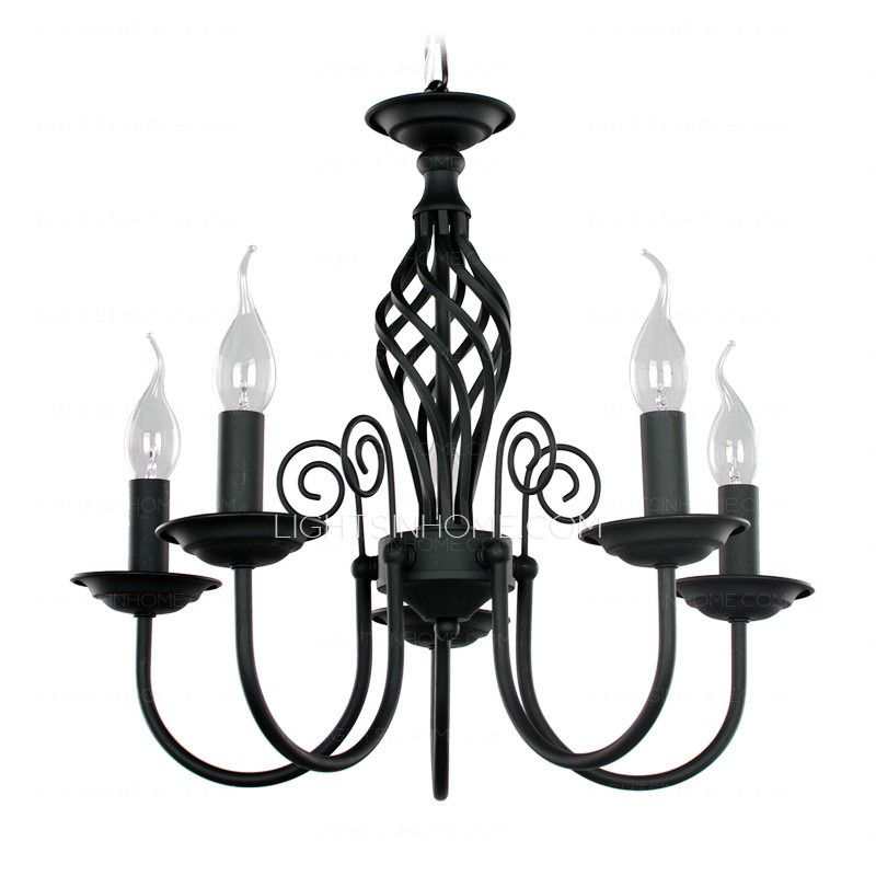 Simple Wrought Iron Small Chandeliers For Bedrooms 5 Light Small