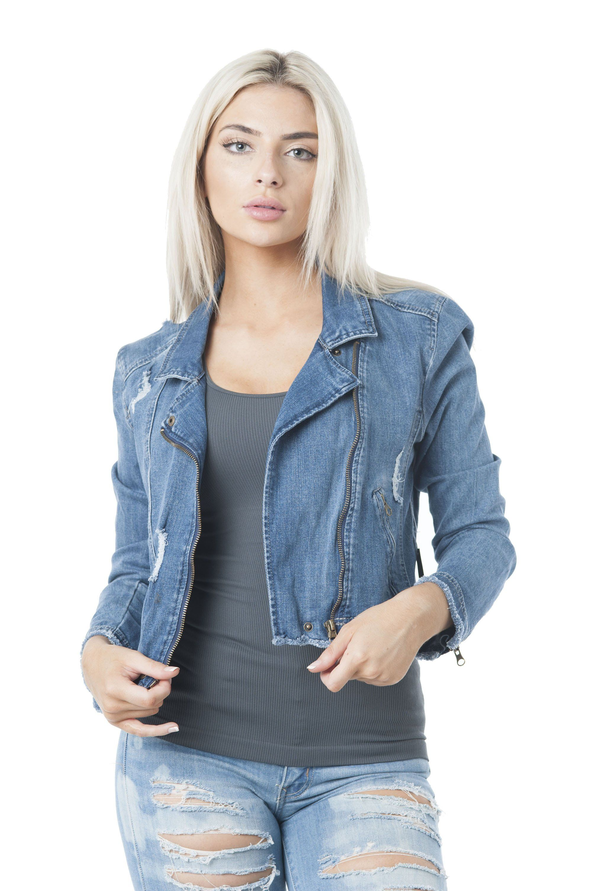 Denim Asymmetrical Moto ZipedUp Jacket in 2020 Jackets