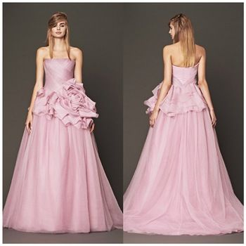 Romantic Fashion Plus Size Real Sample Sexy Backless Strapless Pink Off the Shoulder Women Wedding Dresses Gown Vestido De Noiva