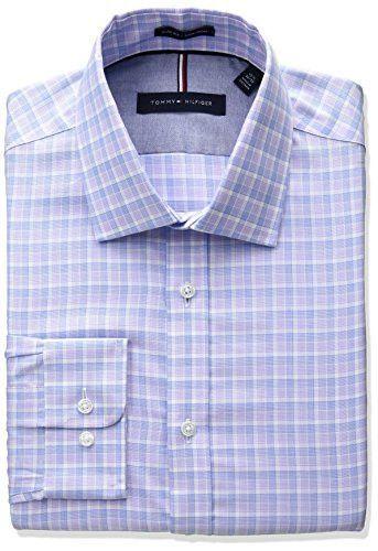 f87cdba69 Tommy Hilfiger Men's Non Iron Slim Fit Plaid Spread Collar Dress Shirt