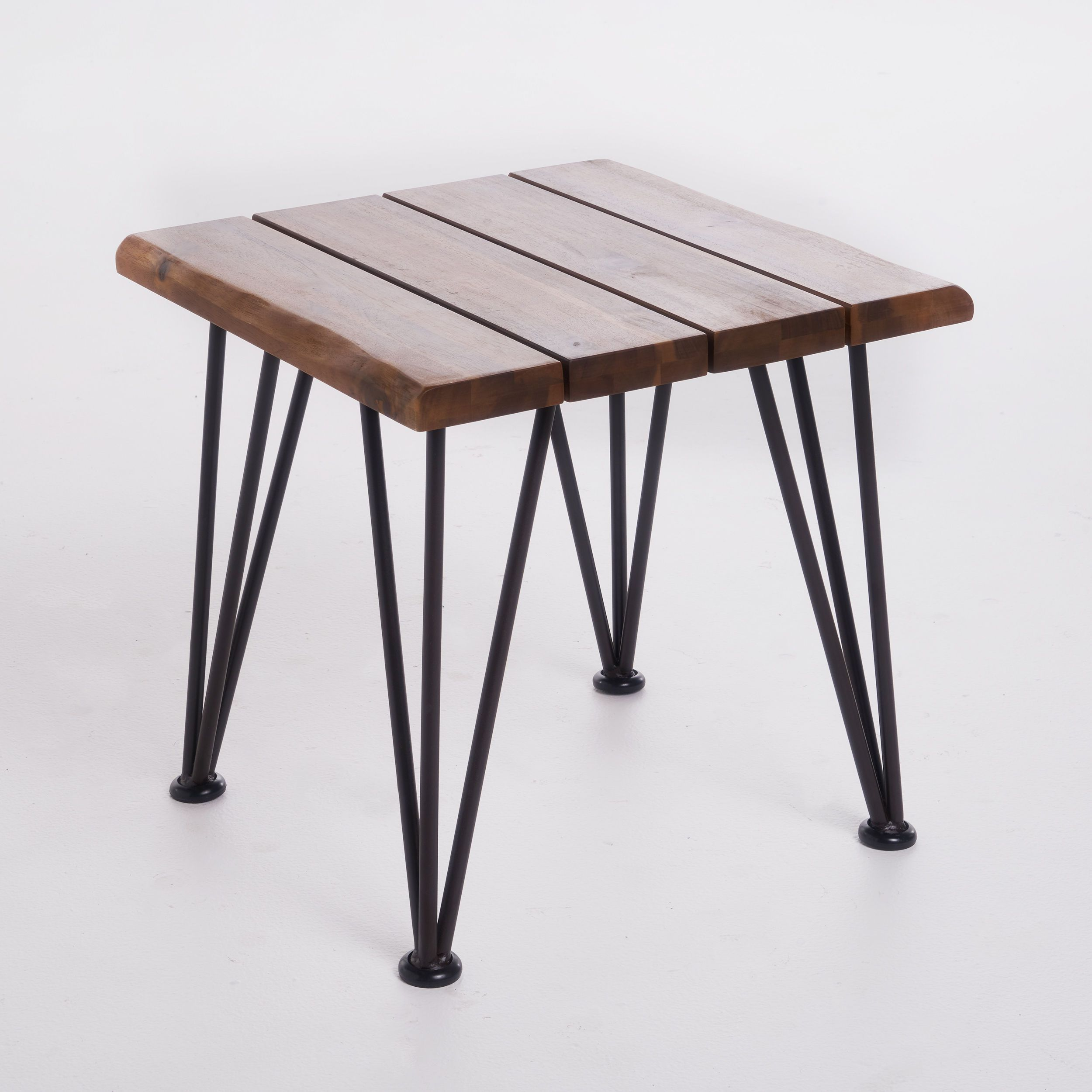 Zion Outdoor Acacia Wood Industrial Side Table by Christopher ...