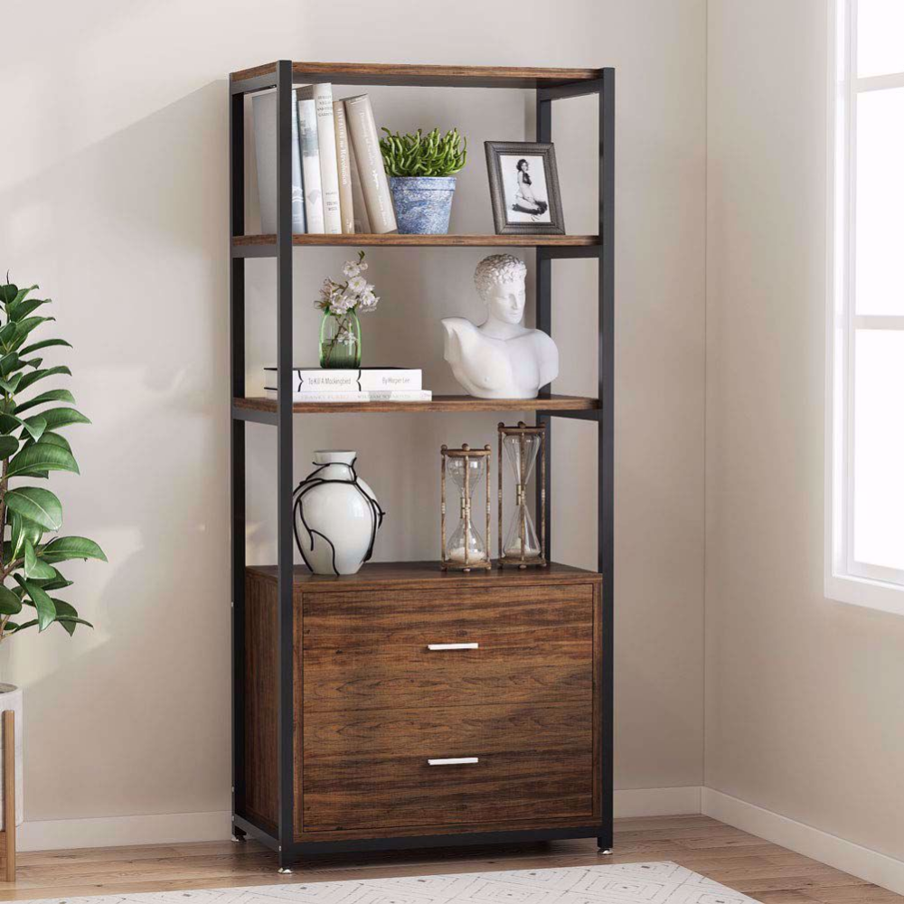 Tribesigns File Cabinets With Drawer Height Range Filing Cabinets Bookcase 4 Tier Bookshelves With 2 Drawers Bookcase Bookcase Storage Office Storage Cabinets