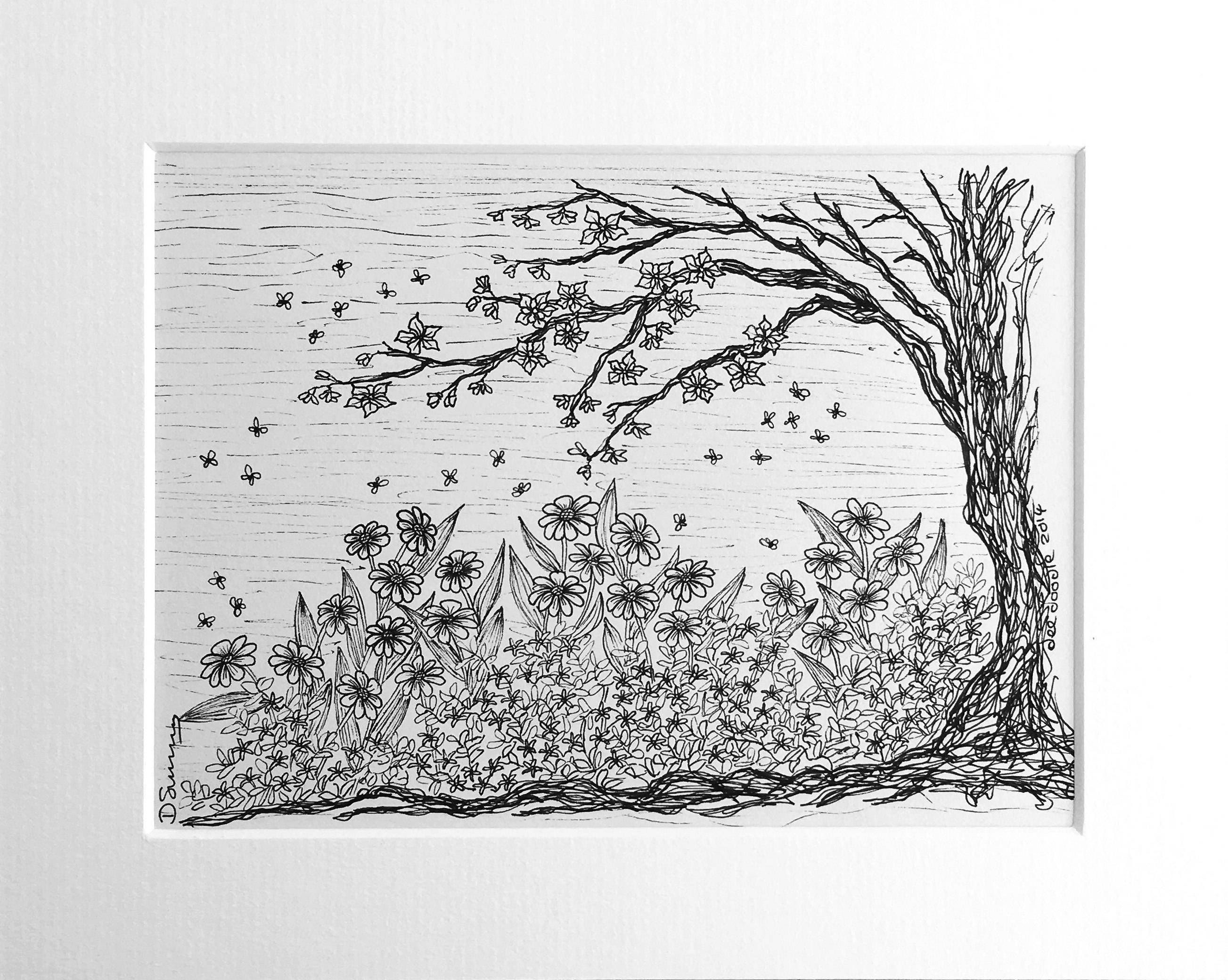 Tree And Flower Drawing Black And White Flower Garden Art Garden