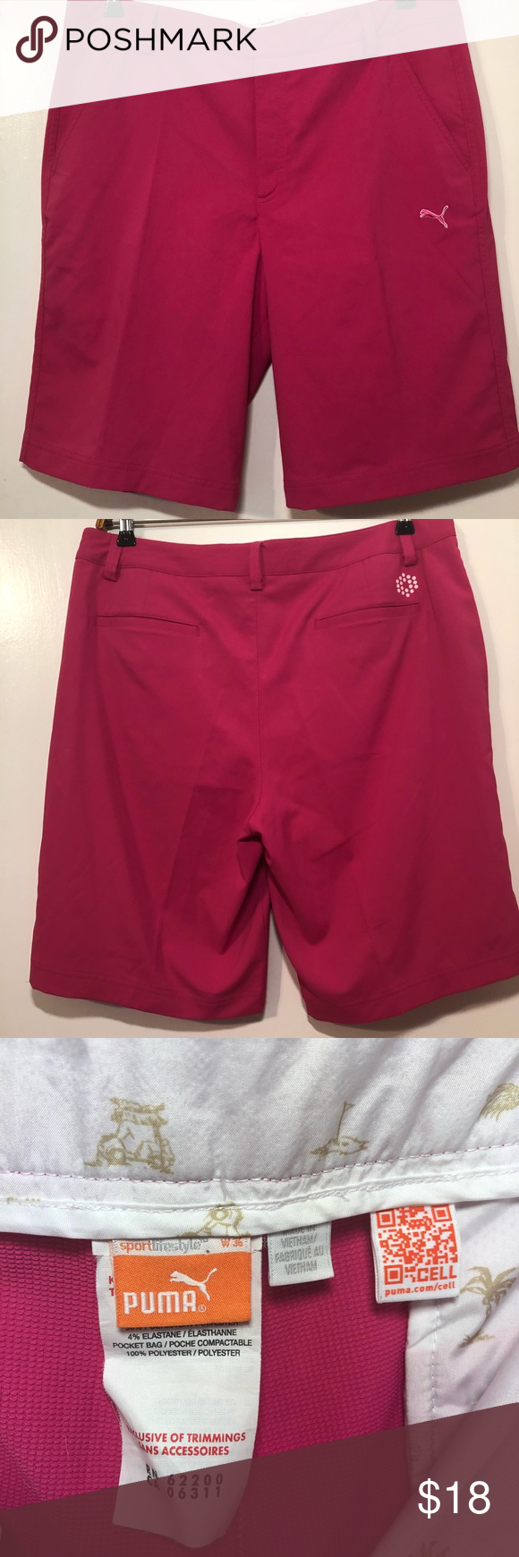 9ae1fb13291 Puma short pants in dark pink Puma bermuda sport lifestyle pants dark pink  Sz 36. Has 2 pockets on front and back with puma logo embroidered in the  front ...