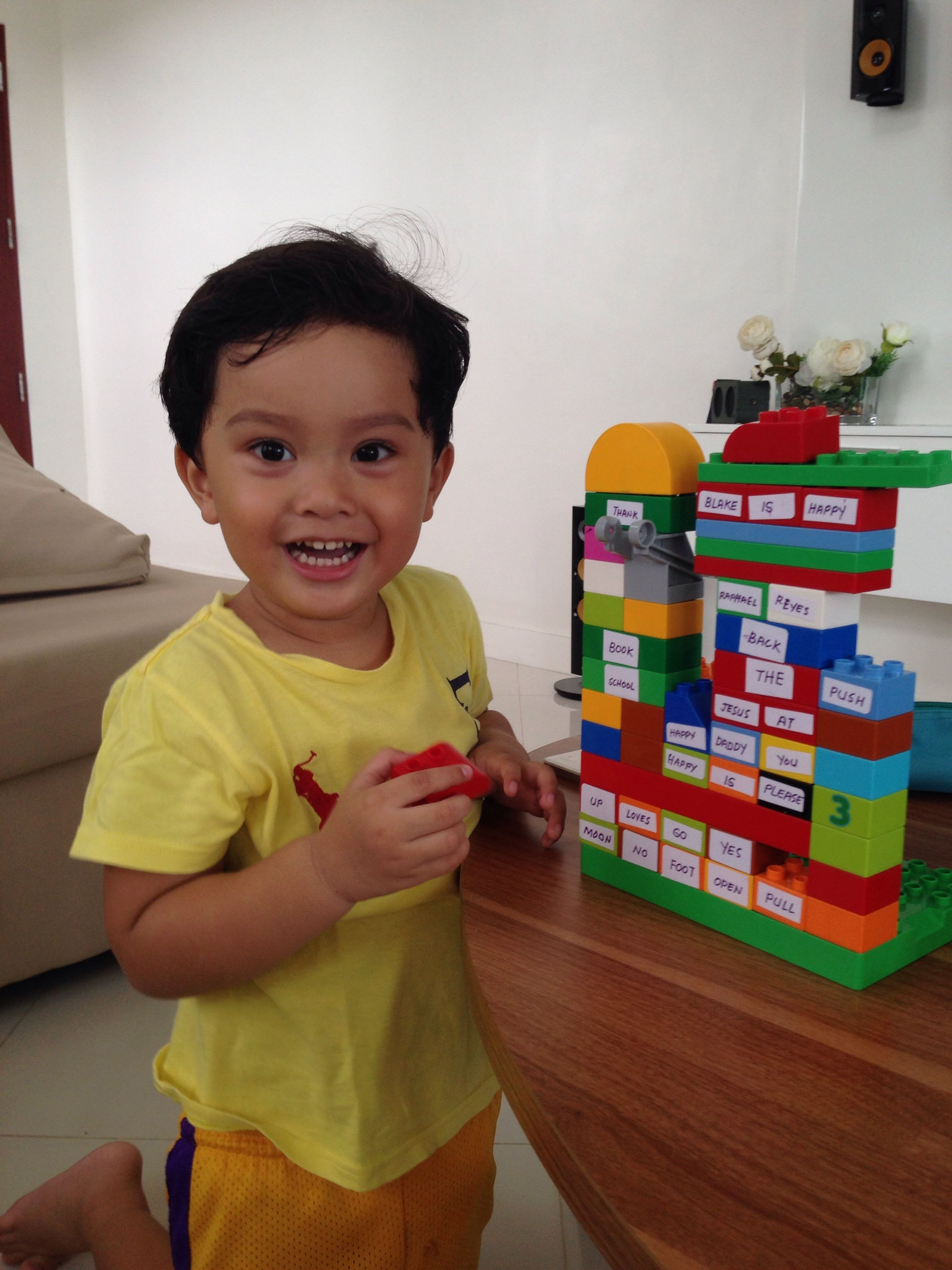 Enjoying his words and lego