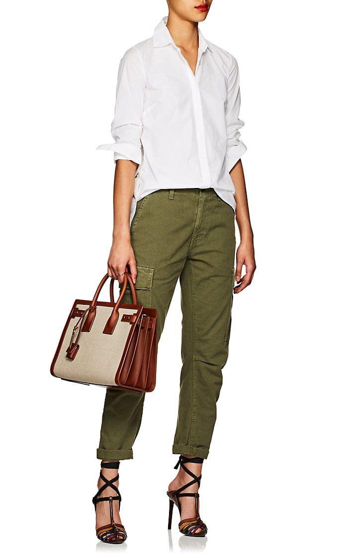 Saint Laurent Small Canvas   Leather Sac De Jour - Brown 1 Sz ... 2c16f07ddd0