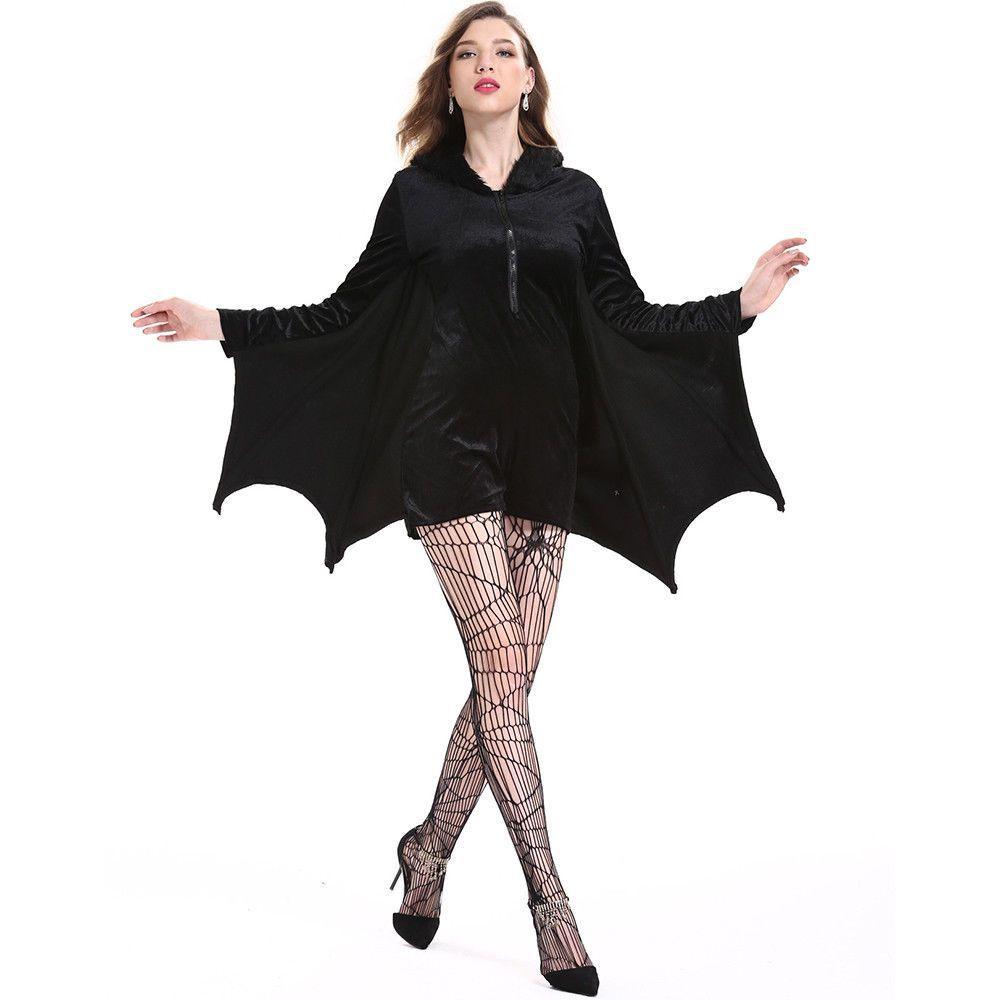 Damen Vampir Fledermaus Halloween Karneval Cosplay Kostüm Overall