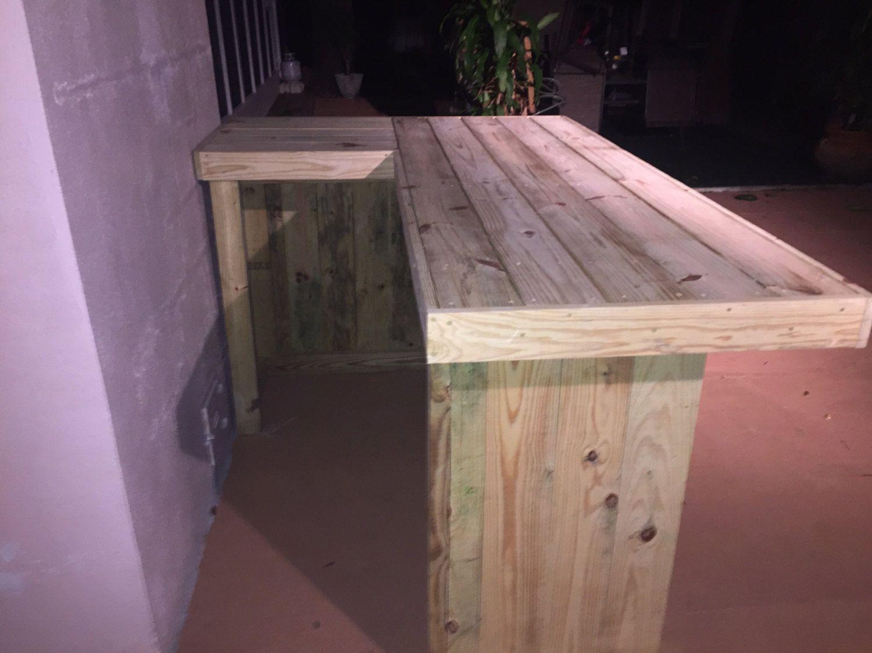 The Orignal L 7 X 4 5 L Shaped Rustic Treated Wood Outdoor Patio Bar Outdoor Patio Bar Patio Bar L Shaped Bar