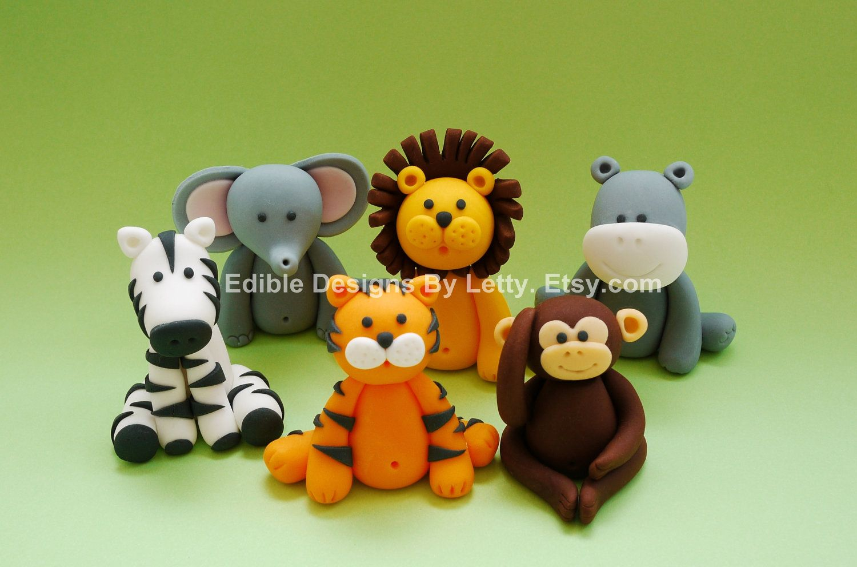 6 Edible Fondant Jungle Animals Cake Cupcake Toppers