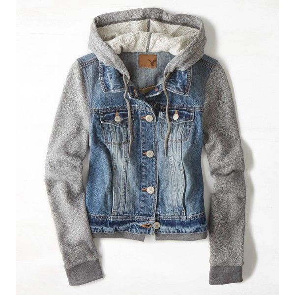 AEO Denim Vested Hoodie (€28) ❤ liked on Polyvore featuring outerwear, jackets, tops, shirts, medium rinse и american eagle outfitters