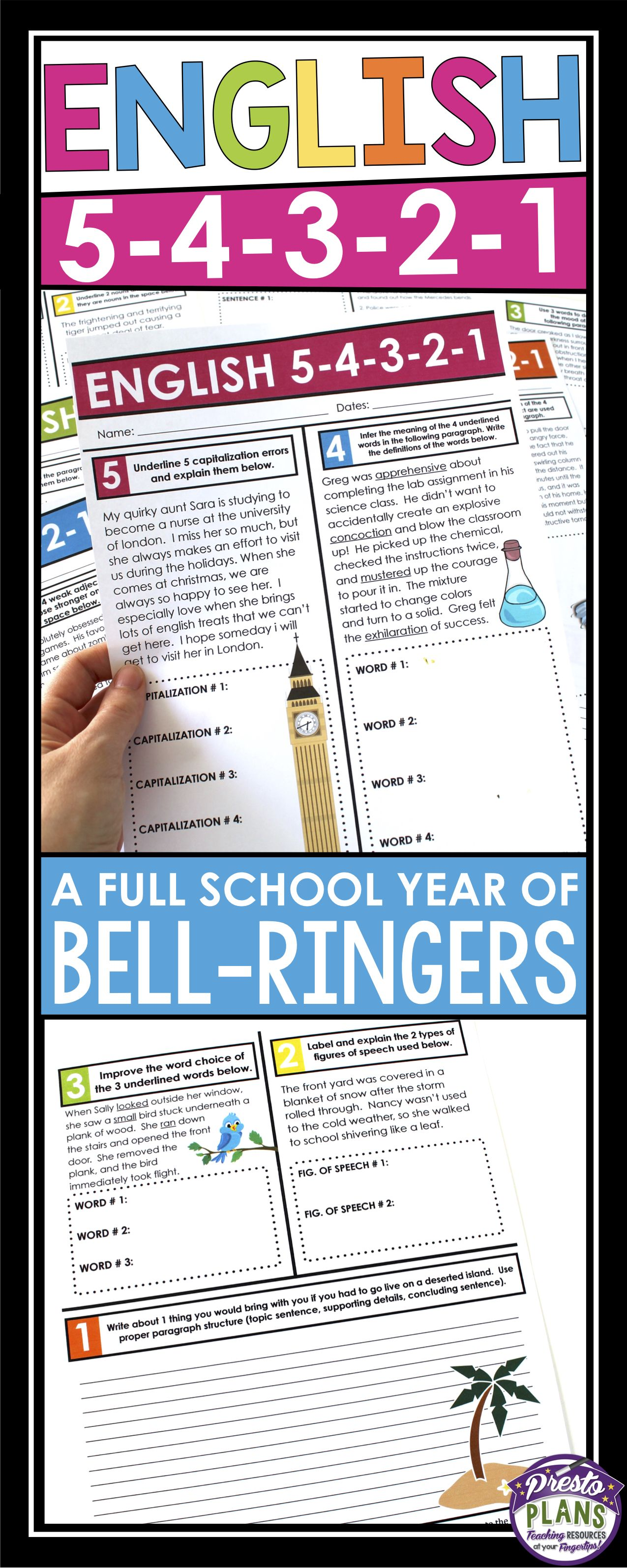 English Bell Ringers Or Homework Full Year Bundle