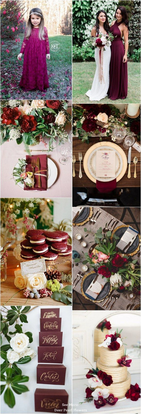 Pink and maroon wedding decor  burgundy and gold fall wedding color ideas