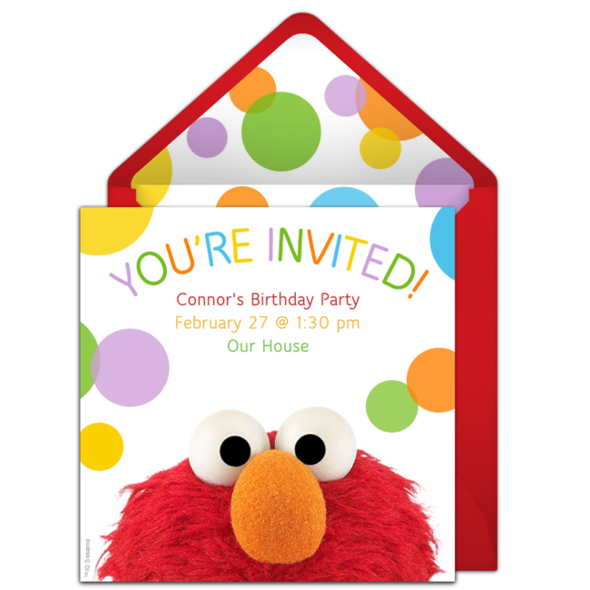 Customizable Free Elmo Online Invitations Easy To Personalize And Send For A Birthday Party Punchbowl