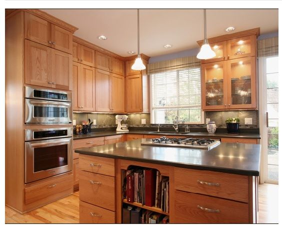 Oak cabinets with silver hardware, similar in color to my ...