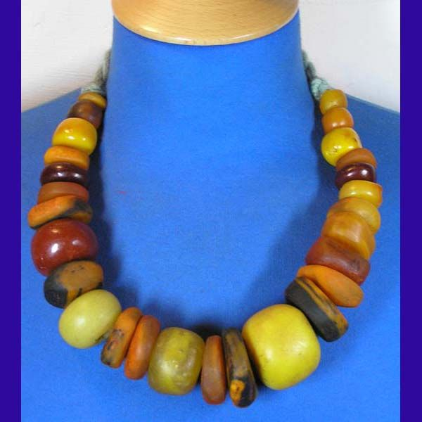 New Moroccan Faux Amber Bead Necklaces - ethnic jewels